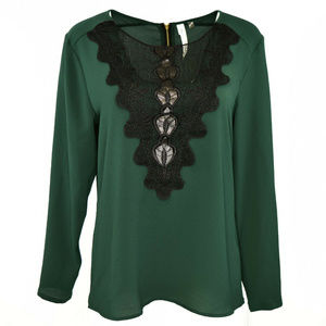 NY Collection Women Back Zip Embellished Top M NWT